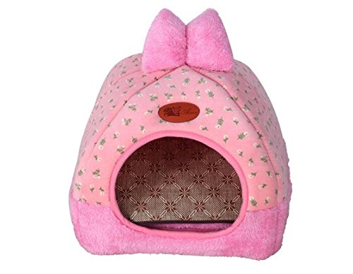 OHlive Accogliente Mongolian Yurts Kennel Cat Nest Pet Forniture per Animali Pet Bow rosa