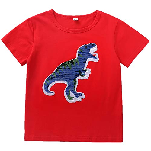 Flip Sequins Dinosaur T-shirts for Baby Boys Girls Toddler Magic Sequin Kids Cotton Tops Red Tees 3-8T Years - 4 Toddler T-shirt