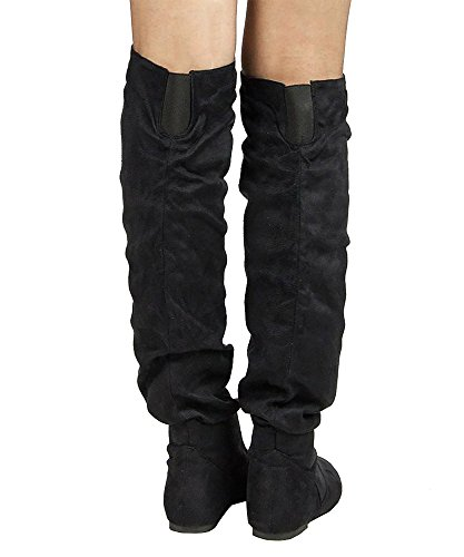 Slouchy by Thigh OF Women's Hi High TREND Suede FASHION Low the Heel Premium Black Shaft ROF ROOM Over Boots Flat K Knee xYqw6zzp