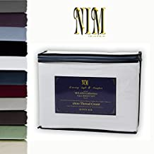NIM Textile Luxury 1600 TC Softness Deep Pocket 4pc Bed Sheet Sets MILANO Collection - White, King