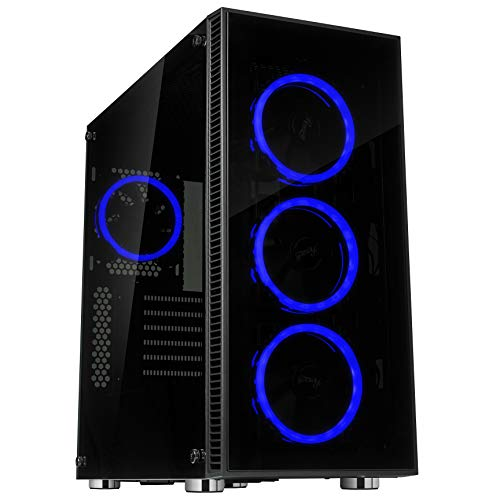 Rosewill ATX Mid Tower Gaming PC Computer Case 3 Sided Tempered Glass Dual Ring Blue LED Fans Great Cable Management/Airflow - CULLINAN V500 Blue (Full Tower Led Blue)
