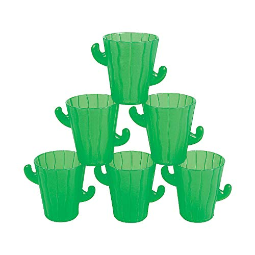 Fun Express - Plastic Cactus Shot Glasses for Cinco de Mayo - Party Supplies - Drinkware - Shot Glasses - Cinco de Mayo - 12 Pieces (Glasses Cactus)