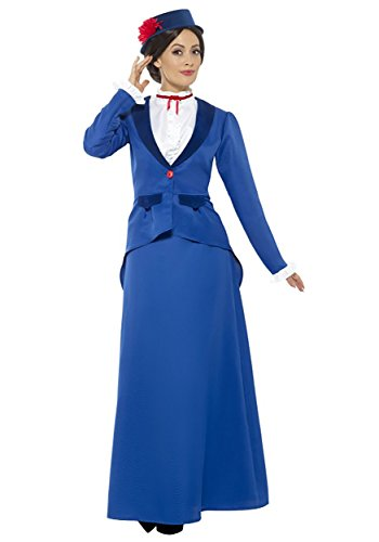Smiffys Women's Victorian Nanny Costume, Blue, Small ()