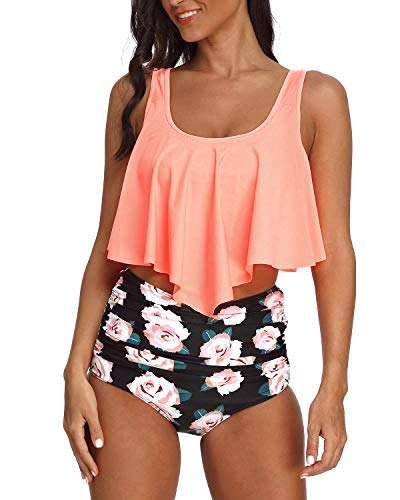 StarTreene Women's Swimsuit Two Pieces Bathing Suit Ruffled Racerback Top High Waisted Bottom Tankini Set Orange Pink Flower M
