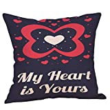 Valentine's Day Throw Pillow Covers Supersoft Square Cushion Cases for Home Decor Sofa Bedroom Cotton Linen 18 x 18 Inch (D)