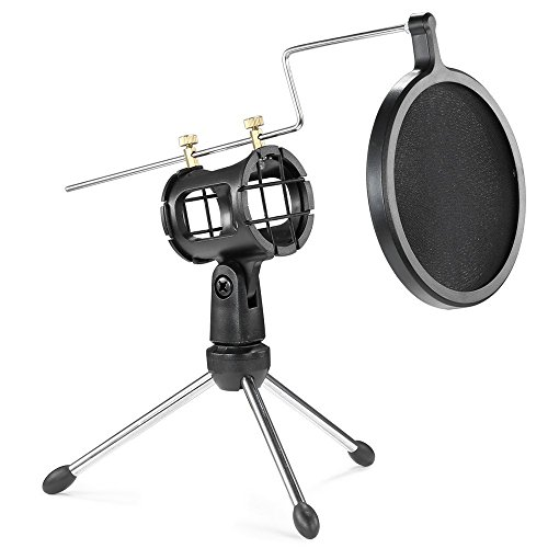 Sywon Mini Desktop Foldable Microphone Stand Mic Tripod Holder Set with Mic Clip Mount and Pop Filter for Youtube Video, Skype, Podcasting, Online Live, Internet Chat, Audio Recording and More