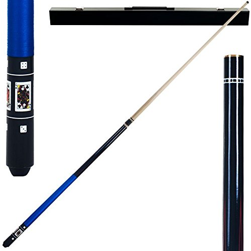 2 Piece Hardwood Blue Royal Flush Clubs Design Pool Stick Cue with Carrying Case - Includes Bonus Chalk Holder! by TMG