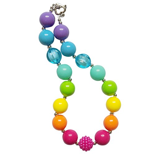 So Sydney Baby Toddler Girls Princess Chunky Bubblegum Beads Beaded Necklace (Over the Rainbow)
