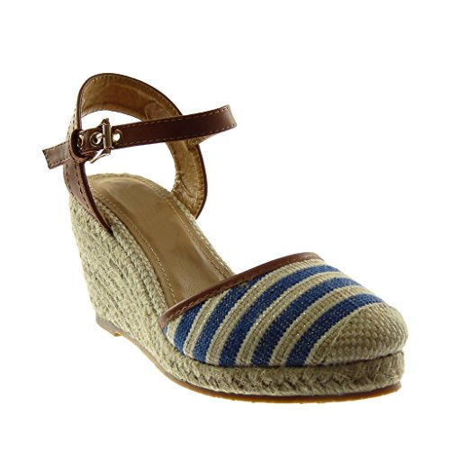 Angkorly Women's Fashion Shoes Sandals Mules - Ankle Strap - Bi Material - Platform - Cord - Braided - Bicolour Wedge Platform 9 cm Blue