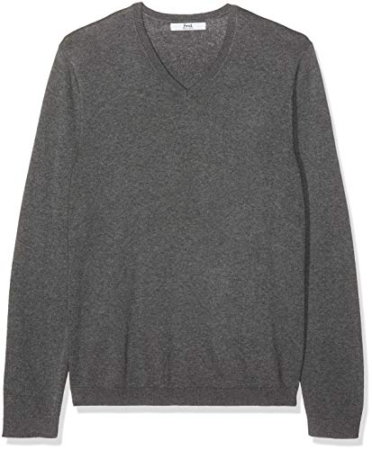 find. Men's Cotton V-Neck Sweater, (Charcoal Grey Marl), - Cotton Pullover V-neck