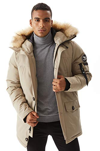 Molemsx Mens Down Jacket, Men's Warm Parka Puffer Jacket Classic Club Padded Jacket Winter Down Jacket with Hood Faux-Fur Trim Beige Large