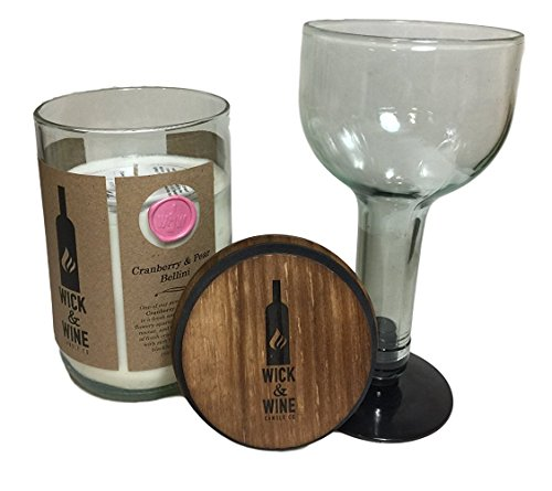Soy Wax Scented Candle and Glass, Wick & Wine 22oz Wine Bottle Candles (Clear Bottle, Cranberry Pear (Cranberry Wine Glass)