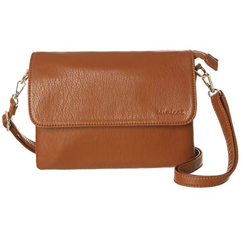 MINICAT Women RFID Blocking Small Crossbody Bags Credit Card Slots Cell Phone Purse Wallet(Brown-Large)