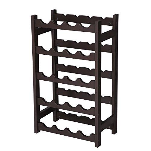 VASAGLE Wood 20 Wine Display Rack, Standing Bottles Storage Shelf, Wobble-Free, Espresso ULWR01BR, ()