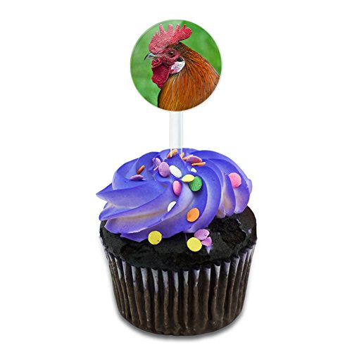 Rooster Cock a Doodle Doo Cake Cupcake Toppers Picks Set Rooster Dessert
