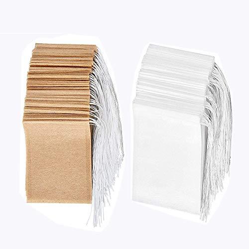 Set de bolsas de filtro de te desechables de 200, Bolsa de te de papel de un solo uso con material seguro y natural con cordon, bolsa de infusion de te vacia