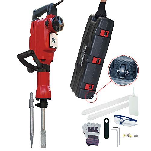 Lion Tools LT5105 Toolman Heavy Duty Electric Demolition Jack hammer Concrete Breaker 14A with Point, Flat Shovel/Chisels bits works with Dewalt, Makita, HILTI, Hitachi, Bosch Accessories