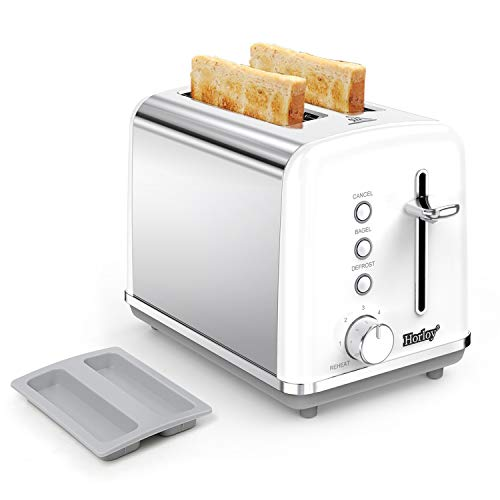 Horloy Stainless Steel Toaster 2 Slice Compact Toaster Extra Wide Slots with Dust Cover, Removable Crumb Tray, Cancel…