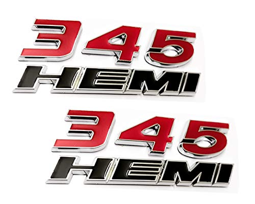 2pcs 345 Hemi Emblem Fender Side Badge Sticker 6 4l Decal Replacement For Ram Challenger Srt Chrysler 300c 3500 Srt8 Black Red