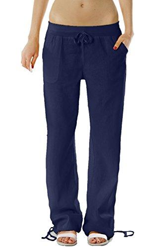 Donna Bestyledberlin casual Donna Pantaloni lino di j98a pantaloni Dunkelblau pantaloni UYaxwdfdq