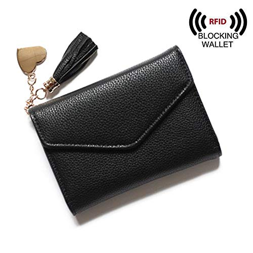 RFID Blocking Women Leather Small Wallet Card Coin Holder with Tassel Heart Pendant (Black)