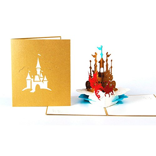 (Greeting Cards for Children, 3D Pop Up Knight Castle Greeting Card Christmas Valentine Birthday Invitation)