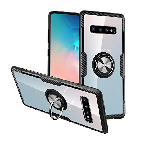 (Nicwea Compatible with Galaxy S10e Case with Clear Backing Slim Silicone Rubber Bumper Frame and 360° Rotating Ring Holder Stand Magnetic for Samsung Galaxy S10E 2019 -)