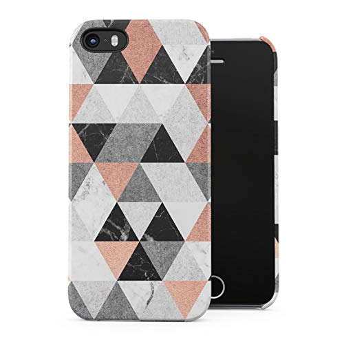 - Black & White Marble & Rose Gold Triangles Pattern Hard Plastic Phone Case for iPhone 5 & iPhone 5s & iPhone SE