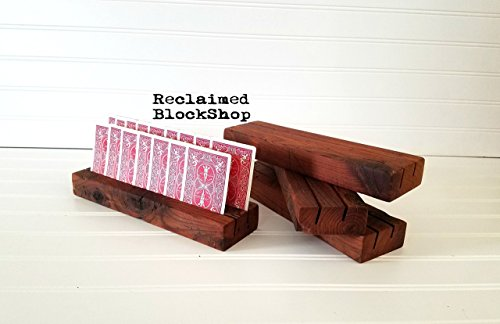 - Reclaimed Wood Playing Card Holders - SET OF 4