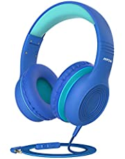 Kids Headphones, Mpow CH6S Wired Headphone for Children, Nylon Fabric Wear-resistant Cable, Volume Limited and Sharing Function Boys Girls Headset, Foldable Headphone with Mic, Study Travel Car Flight