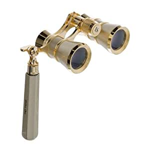 LaScala Optics IOLANTA Lorgnette Opera Glasses - Titanium body, Golden LSI3x25-LSI-07