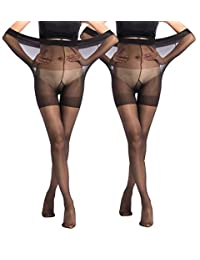Women's Control Top Sheer Pantyhose 20D Plus Size Maternity Tights 2 Packs