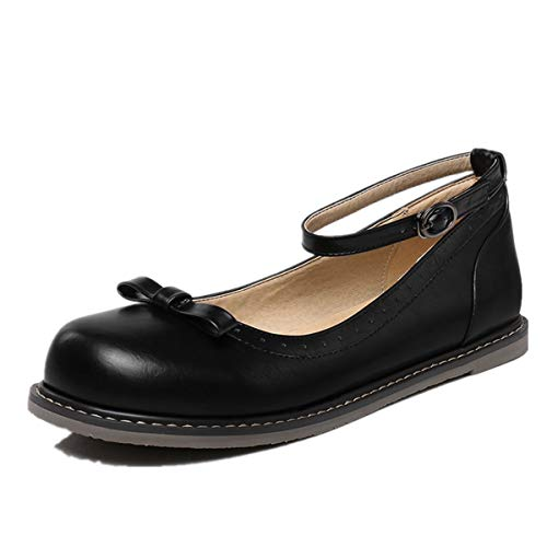 KENGURU COVE Women's Comfy Ankle Strap Mary Jane Flats Walking Casual Shoes (6 M US, Black2) ()