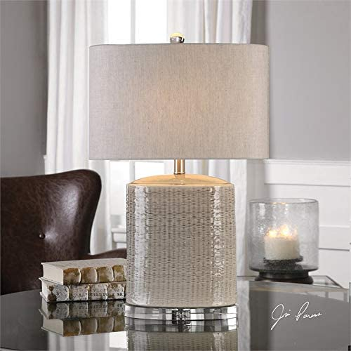 Uttermost Modica Taupe Ceramic Textured Oval Table Lamp