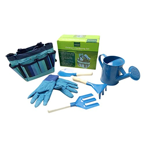 BESTOMZ Gardening Tools with Garden Gloves and Garden Tote For Kids Children Gardening (Blue)