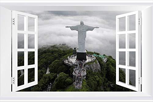 SHOBRILF Statue of Jesus, Rio de Janeiro - World - #11217 - Art Print 3D Fake Windows Wall Stickers Removable Poster Wall Decor for Livingroom Bedroom 24x16 inches (Statue De Jesus A Rio De Janeiro)
