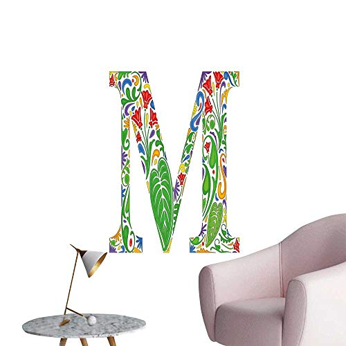 Alexandear Letter M Wall Mural Wallpaper Stickers M Silhouette with Fresh Jungle Leaves Abstract Flowering Meadow Motifs Vintage Art Living Room Wallpaper Multicolor W16 x -