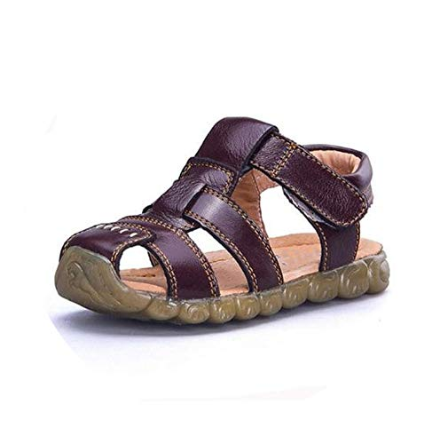 Children Shoes Genuine Leather Cowhide Sandals Half Hole Single Shoes Casual Comfortable Male,Brown,36 ()