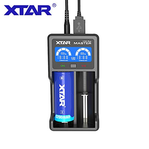 XTAR VC2 Plus LED Display USB Universal Battery Charger with Pouch (VC2Plus)