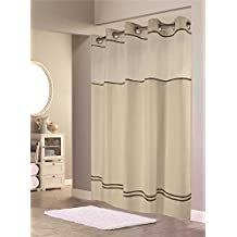 HOOKLESS ESCAPE SHOWER CURTAIN WITH SNAP-IN LINER, SAND WITH BROWN STRIPE, 71 IN. X 74 IN.
