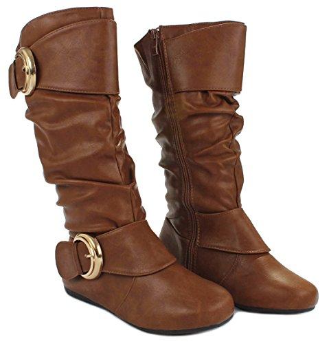 Women B-85 Dual Buckle Leatherette Mid-Calf Casual Slouchy Zipper Boots Tan_Gold Buckle DjwUNKoDad