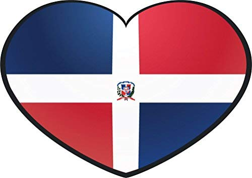 Yetta Quiller Dominican Republic Glossy Heart Flag Home Decal Vinyl Sticker 14 X 10 inches