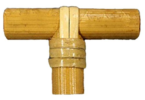 Bamboo Wood and Rattan Bath/Kitchen T-Handle Cabinet/Drawer Pulls/Knobs-Set of 2 -
