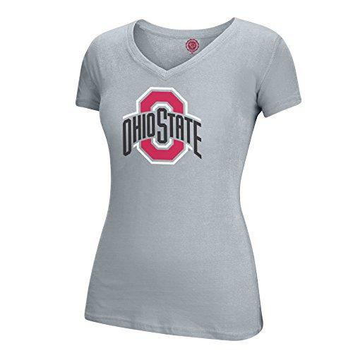 J America NCAA Ohio State Buckeyes Adult Women Athletic O Essential Tee, Small, Oxford
