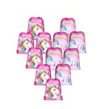 Borang 12 Pcs Unicorn Bags for Unicorn Party Supplies Drawstring Shoulder Backpack Bag Bulk