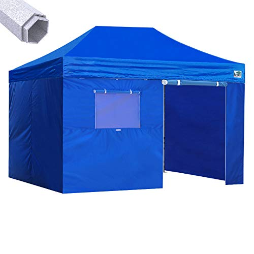 Eurmax Premium 10x15 Pop up Canopy Instant Outdoor Party Tent Shade Gazebo with 4 Removable Enclosure Zipper End Sidewalls Walls and Roller Bag (Blue)