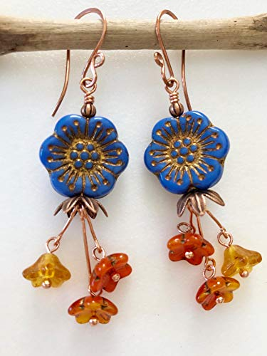 Cornflower Blue Flower Earrings, Premium Czech Glass, Blue Topaz Orange Picasso Flowers, Flower Dangles, Flower Earrings, Boho, Copper Accents.