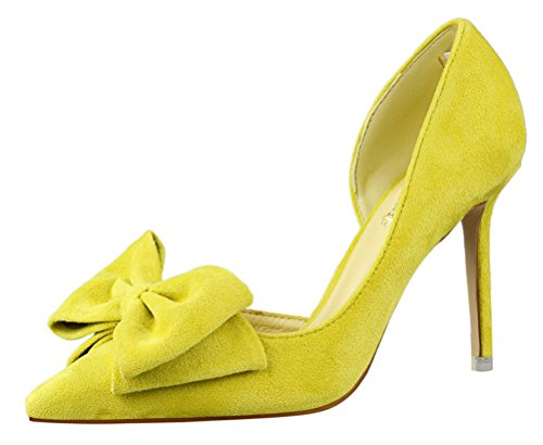 T&Mates Womens Sweet Cut Out Bow Stiletto High Heel D-orsay Pumps Pointy Slip On Shoes (5 B(M)US,Yellow)