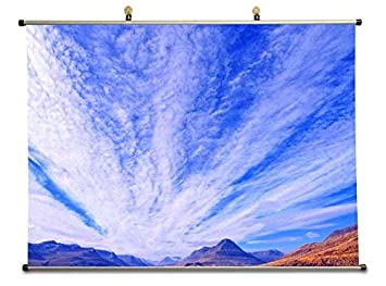 Amazon.com: Tollyee Beautiful Blue Sky - Canvas Wall Scroll ...