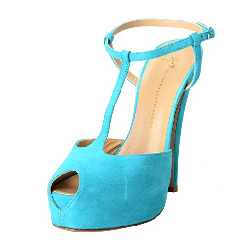 - GIUSEPPE ZANOTTI Design Women's Suede Aqua Blue Open Toe High Heels Shoes US 7 IT 38;